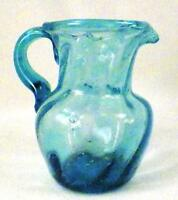 Turquoise Art Glass Pitcher Blown Swirls Small Pretty Vintage