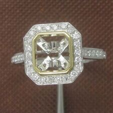 7x7mm Princess Cut Solid 14kt White Yellow Gold Natural Diamond Semi Mount Ring