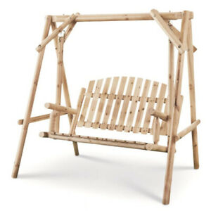CASTLECREEK 4 Ft 2 Person Rustic Outdoor Patio Wooden Log Porch Swing and Frame