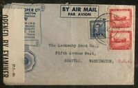 1943 Wellington New Zealand Censored Airmail Cover To Seattle Wa USA