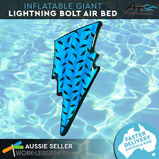 Giant Inflatable Pool Float Blue Lightning Bolt Air Bed Beach Lounge Toy Airtime