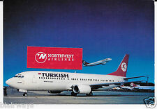 "TURKISH AIRLINES THY BOEING 737-300 ""KEMER"" 7"" X 5"" AIRLINE ISSUE POSTCARD"