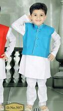 3 Age Size Boys Kurtha Indian Costume Sherwani Bollywood Party Suit Blue D3-3