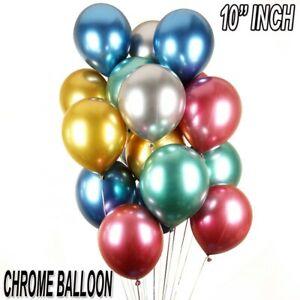 "10"" INCH Latex Ballons Metallic Pearl Chrome HOME Birthday Celebration 10-50Pcs"
