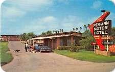 Pharr Texas birds eye vie 00006000 w Pen-Ann Motor Hotel entrance vintage pc Z21756