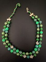 Vintage Multi Strand Glass & Lucite Green & White Bead Necklace Japan