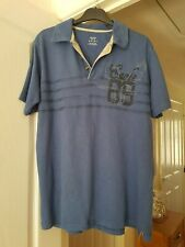 """Men's M&Co Blue Polo Neck Shirt, Short Sleeves,  Size M (Pit to Pit 21"""") VGC"""
