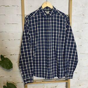 Men's Size S Cotton Blue Plaid Long Sleeve Shirt Regular Fit