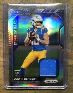 🔥🔥JUSTIN HERBERT 2020 Panini Prizm Premier JERSEY PATCH RC Chargers #29🔥🔥
