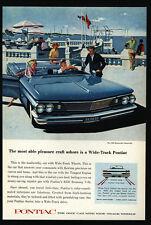 1960 Blue PONTIAC BONNEVILLE Convertible Car - Wide-Track - Sailboat  VINTAGE AD
