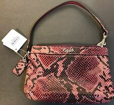 Coach Wristlet Soho Embossed Exotic Madison Python Pattern Purple Leather NWT