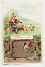 G-400 Gnomes Playing Fiddle Violen Easter Postcard
