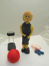 keep fit/ gym lady edible figure hand made birthday cake topper