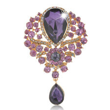 New Large Fashion Drop Pendant Crystal Wedding Grace Lady Rhinestone Brooch Gift