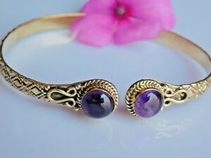 Natural Amethyst Bangle Bracelet Adjustable Brass Tribal Hand Cuff Ethnic Bangle