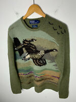 Polo Ralph Lauren Small Duck Hunting Green Sweater RRL Aztec VTG Geese Shooting