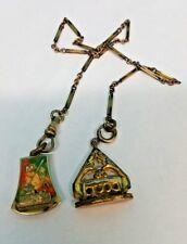 Antique Modern Woodsman of America Enamel Dual Pendant Pocket Watch Chain