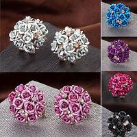EG_ Women Girls Jewelry Elegant Rose Flower Crystal Ear Stud Earrings Latest