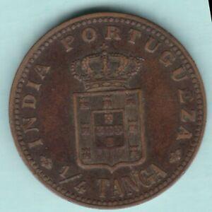 PORTUGESE INDIA GOA CARLOS I 1/4 TANGA RARE COPPER COIN