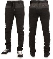 ETO Mens Jeans EM455 Dark Grey Tapered Fitted Drawstring Designer Denim Pants