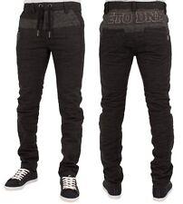 "Mens Jeans ETO Em455 Dark Grey Tapered Fitted DESIGNER Pants Jeans 42w Regular (32"" Leg)"