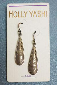 NOS Holly Yashi Pierced Earrings 2-Tone Gold Niobium Teardrop Dangle #7032