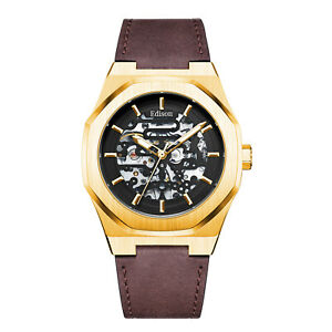 Mens Edison Roadster Automatic Watch Yellow Gold Colour Case Brown Leather
