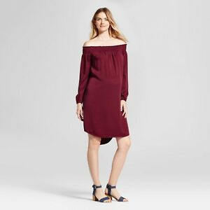 Isabel Maternity Off-the Shoulder Long Sleeve Dress Boysenberry Red