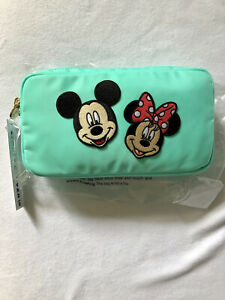 """NWT Stoney Clover Lagoon Small Pouch w/ 3"""" Mickey & 3"""" Minnie Patches"""