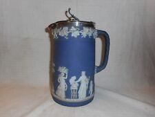 antique Wedgwood dark blue jasper lidded jug