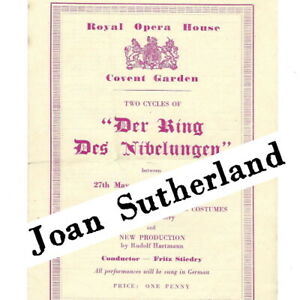 1954 Joan Sutherland Ring Cycle FLYER Royal Opera house Covent Garden Wagner