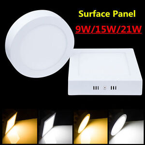 1/10pcs x 9W 15W 21W Surface Mount LED Ceiling Down Light Panel Lamp White Shell