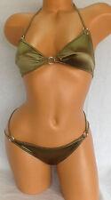 NWOT Women's Tomas Maier Satin Ring Idole Bikini Metalic Olive Sz, 38 40