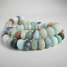 40cm strand of 5x8mm amazonite rondelle donut natural green aqua brown beads