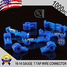 1000 Pack T-Taps Blue 16-14 AWG Gauge Quick Slide Connectors Car Audio Alarm UL