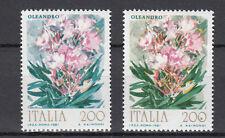 ITALIA VARIETA' FIORI 1981 OLEANDRO COLORE SFONDO AZZURRO E FOGLIE IN VERDE BLU'