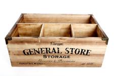 Vintage Wooden 4 Compartment Storage Box Milk Bottle Crate Cutlery Caddy Holder
