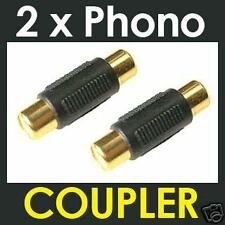 2 x RCA Phono COUPLER Joiner Single Audio Video Adapter