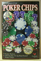 Box of 100 Poker Chips Quality Professional with Dealer Button Dual-Toned NIB
