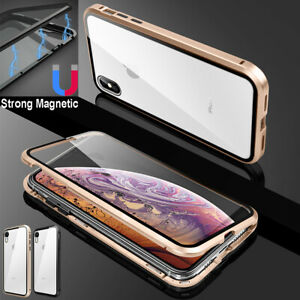 For iPhone 12 11 Pro XS Max XR 7 8 Plus Metal Magnetic Case Tempered Glass Cover