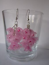 Drop / Dangle Earrings - Cherry Blossom Cluster - Pink Lucite Flowers