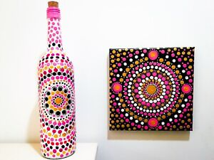 Hand Painted Bottle (Dot Painting) with Beautiful Mandala Design. Décor & gift