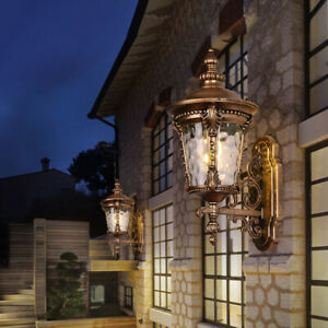 Vintage Loft Black/Brass Metal Lantern Water Glass Outdoor Wall Lights Sconces