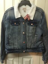 Arizona Ladies Jean Jacket With Faux Fur Lining Winter Size XL Teen Girls