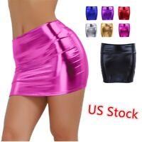US Women Shiny Metallic Micro Skirt Mini Party Club Wetlook Tight Bodycon Skirt