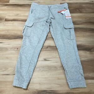 Weatherproof Vintage Mens Knit Jogger Cargo Pants Small Slim Tapered Gray NEW