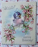 Vintage 1950s Birthday Greeting Card Singing Blue Bird Pink Feathers and Flowers