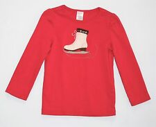 "Gymboree ""Winter Cheer"" Ice Skate Red LS Top, 4"