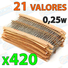 Lot 420 different values 21 resistors 5% 1/4w 0,25w carbon film resistor