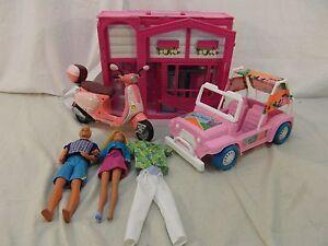 Vintage Barbie and Ken Dolls, House, car, and Accessories Set/bundle used 110406